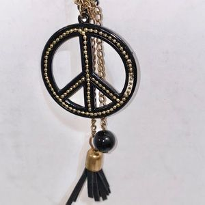 Black & Gold Layered Peace Sign Charms Necklace